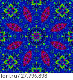 Купить «Abstract geometric seamless background, kaleidoscope. Floral ornament dark blue, red and violet with square elements in bright green, ornate and conspicuous.», фото № 27796898, снято 19 марта 2018 г. (c) PantherMedia / Фотобанк Лори