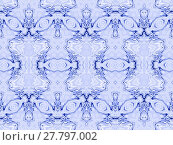 Купить «Abstract geometric seamless background. Ornate ornaments, gradient diamond pattern in purple shades with dark blue and white elements.», фото № 27797002, снято 21 января 2019 г. (c) PantherMedia / Фотобанк Лори