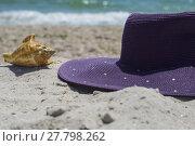 Купить «Hat and seashell on the beach», фото № 27798262, снято 23 апреля 2019 г. (c) PantherMedia / Фотобанк Лори