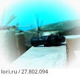 Купить «Chained binoculars aqua white gamma», фото № 27802094, снято 26 апреля 2019 г. (c) PantherMedia / Фотобанк Лори