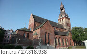 Купить «Riga Cathedral (Rīgas Doms) is the Evangelical Lutheran cathedral in Riga, Latvia», видеоролик № 27818938, снято 26 августа 2016 г. (c) Алексей Кузнецов / Фотобанк Лори