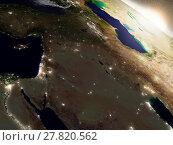 Купить «Sunrise over Israel, Lebanon, Jordan, Syria and Iraq region», фото № 27820562, снято 14 декабря 2018 г. (c) PantherMedia / Фотобанк Лори