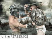 Купить «Gladiators or warriors fighting with shield and swords in a battle», фото № 27825602, снято 9 июля 2020 г. (c) PantherMedia / Фотобанк Лори