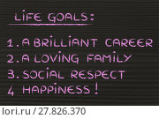 Купить «life goals: career, family, respect, happiness», фото № 27826370, снято 15 декабря 2018 г. (c) PantherMedia / Фотобанк Лори