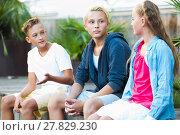 Купить «Smiling girl with boys discussing outdoors», фото № 27829230, снято 27 июля 2017 г. (c) Яков Филимонов / Фотобанк Лори