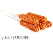 Купить «Baked sausages on sticks», фото № 27830698, снято 9 декабря 2017 г. (c) Art Konovalov / Фотобанк Лори