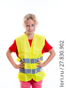 Купить «blond girl with reflective vest», фото № 27830902, снято 18 октября 2019 г. (c) PantherMedia / Фотобанк Лори