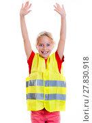 Купить «blond girl with reflective vest», фото № 27830918, снято 16 октября 2019 г. (c) PantherMedia / Фотобанк Лори