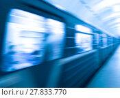 Купить «Diagonal blue metro train in motion abstraction background», фото № 27833770, снято 19 марта 2019 г. (c) PantherMedia / Фотобанк Лори