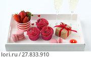 Купить «red sweets and champagne in st valentines day», видеоролик № 27833910, снято 10 февраля 2018 г. (c) Syda Productions / Фотобанк Лори
