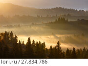 Купить «First sunrise rays of sun in Carpathian mountains.», фото № 27834786, снято 18 октября 2017 г. (c) Юрий Брыкайло / Фотобанк Лори
