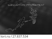 Купить «man with net colleting group of emails, subscription management», фото № 27837534, снято 21 июля 2018 г. (c) PantherMedia / Фотобанк Лори