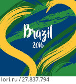 Купить «Vector template with colored lines and waves. Abstract colors of Brazil 2016.», иллюстрация № 27837794 (c) PantherMedia / Фотобанк Лори