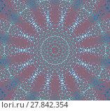 Купить «Abstract geometric seamless background. Delicate concentric circle ornament in pale green, dark green, white and purple on brown.», фото № 27842354, снято 18 октября 2018 г. (c) PantherMedia / Фотобанк Лори