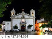 Купить «Historic part of Lagos city at night, Praca Infante Dom Henrique, Igreja de Santa Maria, Algarve, Portugal, Europe», фото № 27844634, снято 22 ноября 2017 г. (c) age Fotostock / Фотобанк Лори