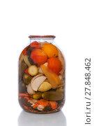 Купить «Canned tomatoes and cucumbers in a glass jar.», фото № 27848462, снято 23 января 2020 г. (c) easy Fotostock / Фотобанк Лори