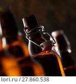 Купить «Open bottle of beer with stopper», фото № 27860538, снято 27 мая 2020 г. (c) PantherMedia / Фотобанк Лори