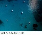 Купить «Aerial view of boats in a splendid cove in Corsica», фото № 27861170, снято 22 апреля 2019 г. (c) PantherMedia / Фотобанк Лори