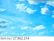 Купить «Blue sky background with white clouds lit by sunlight», фото № 27862214, снято 25 апреля 2015 г. (c) Зезелина Марина / Фотобанк Лори