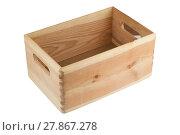 Купить «empty wood crate with handles», фото № 27867278, снято 22 апреля 2019 г. (c) PantherMedia / Фотобанк Лори