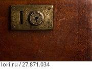 Купить «Old locking mechanism on a vintage suitcase», фото № 27871034, снято 15 ноября 2018 г. (c) PantherMedia / Фотобанк Лори