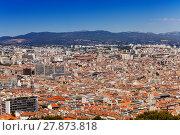 Купить «View of Marseille with ferris wheel at Vieux-Port», фото № 27873818, снято 18 июля 2017 г. (c) Сергей Новиков / Фотобанк Лори