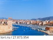 Купить «Vieux port and Marseille coastline in France», фото № 27873954, снято 18 июля 2017 г. (c) Сергей Новиков / Фотобанк Лори
