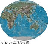 Купить «Asia Oceania detailed map», иллюстрация № 27875590 (c) PantherMedia / Фотобанк Лори