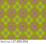 Купить «Abstract geometric seamless retro background.  Ornate diamond pattern bright green and purple on olive green, extensive and dreamy.», иллюстрация № 27880054 (c) PantherMedia / Фотобанк Лори