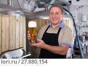 Купить «Adult brewer is standing with golden beer in glass», фото № 27880154, снято 18 сентября 2017 г. (c) Яков Филимонов / Фотобанк Лори