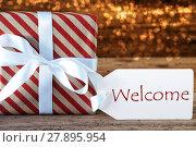 Купить «Atmospheric Christmas Gift With Label, Welcome», фото № 27895954, снято 26 мая 2019 г. (c) PantherMedia / Фотобанк Лори
