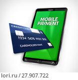 Купить «mobile payment credit card 3d render», фото № 27907722, снято 21 октября 2018 г. (c) PantherMedia / Фотобанк Лори