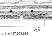 Купить «Soccer Players and Large Crowd at Stadium», иллюстрация № 27908926 (c) PantherMedia / Фотобанк Лори