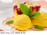 Купить «Raspberry crumb cake with ice cream», фото № 27909870, снято 28 мая 2018 г. (c) PantherMedia / Фотобанк Лори
