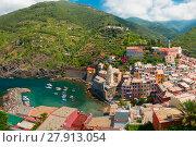 Купить «Panorama of Vernazza, Cinque Terre, Liguria, Italy», фото № 27913054, снято 17 января 2019 г. (c) PantherMedia / Фотобанк Лори