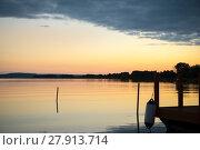 Купить «sunset by the lake», фото № 27913714, снято 22 сентября 2019 г. (c) PantherMedia / Фотобанк Лори