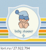 Купить «baby boy shower card with funny little baby», фото № 27922794, снято 23 июля 2018 г. (c) PantherMedia / Фотобанк Лори