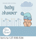 Купить «baby boy shower card with funny little baby», фото № 27930534, снято 23 июля 2018 г. (c) PantherMedia / Фотобанк Лори