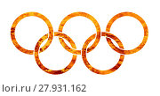 Купить «Flaming Olympic Rings», иллюстрация № 27931162 (c) PantherMedia / Фотобанк Лори