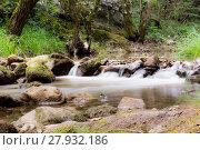 Купить «Water stream running over mossy rocks», фото № 27932186, снято 23 февраля 2019 г. (c) PantherMedia / Фотобанк Лори
