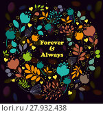 Купить «Colorful floral ring. Forever and Always», фото № 27932438, снято 20 октября 2018 г. (c) PantherMedia / Фотобанк Лори
