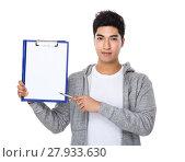 Купить «Asian man pen point to blank page of clipboard», фото № 27933630, снято 21 июня 2018 г. (c) PantherMedia / Фотобанк Лори
