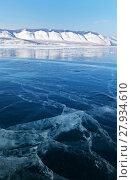 Купить «Blue clear ice on the Siberian Lake Baikal in February», фото № 27934610, снято 11 февраля 2018 г. (c) Виктория Катьянова / Фотобанк Лори