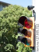 Купить «Traffic light with buzzer for walkway of the blind», фото № 27935722, снято 10 декабря 2018 г. (c) PantherMedia / Фотобанк Лори