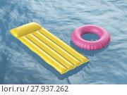 Купить «Pool raft and swim ring», фото № 27937262, снято 20 апреля 2018 г. (c) PantherMedia / Фотобанк Лори