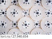 Купить «Background of optical fibers reels», фото № 27940654, снято 26 мая 2019 г. (c) PantherMedia / Фотобанк Лори
