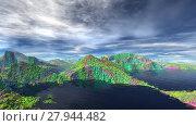 Купить «Чужая планета. Скалы и озеро. Анимация. Панорама. 4К», видеоролик № 27944482, снято 17 февраля 2018 г. (c) Parmenov Pavel / Фотобанк Лори