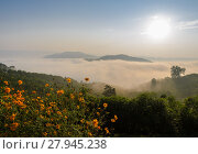 Купить «Sunrise with sea of fog above Mekong river in Nong Khai Province, Thailand», фото № 27945238, снято 23 августа 2019 г. (c) PantherMedia / Фотобанк Лори