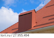 Купить «The roof of corrugated sheet red orange», фото № 27955494, снято 26 мая 2019 г. (c) PantherMedia / Фотобанк Лори