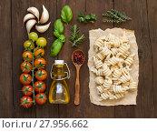 Купить «Italian pasta, vegetables,  herbs and olive oil», фото № 27956662, снято 22 августа 2018 г. (c) PantherMedia / Фотобанк Лори